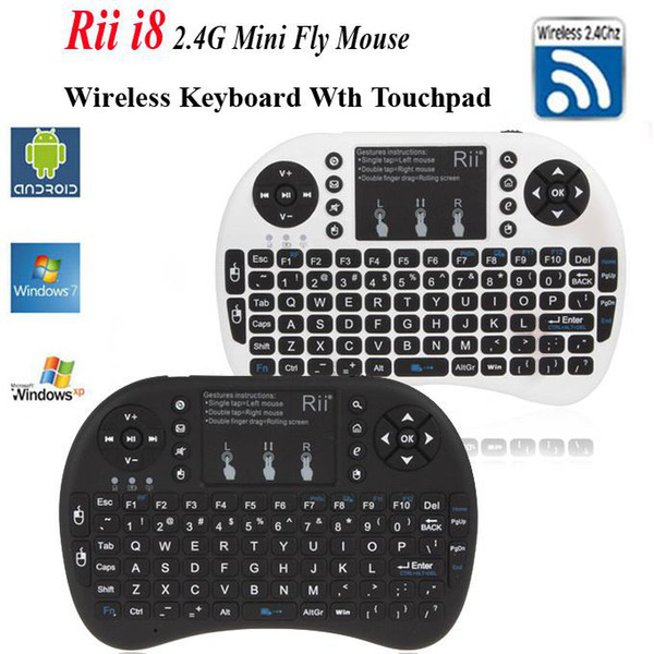 Drop Shipping Rii mini i8 Air Mouse Multi-Media Remote Control Touchpad Handheld Keyboard for TV BOX PC Laptop Tablet Mini PC