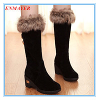 Wholesale Girls Boot Wedge - ENMAYER Snow Boots Mid-Calf Round Toe wedgesd Winter Autumn boots for women platform high heels boots for girls