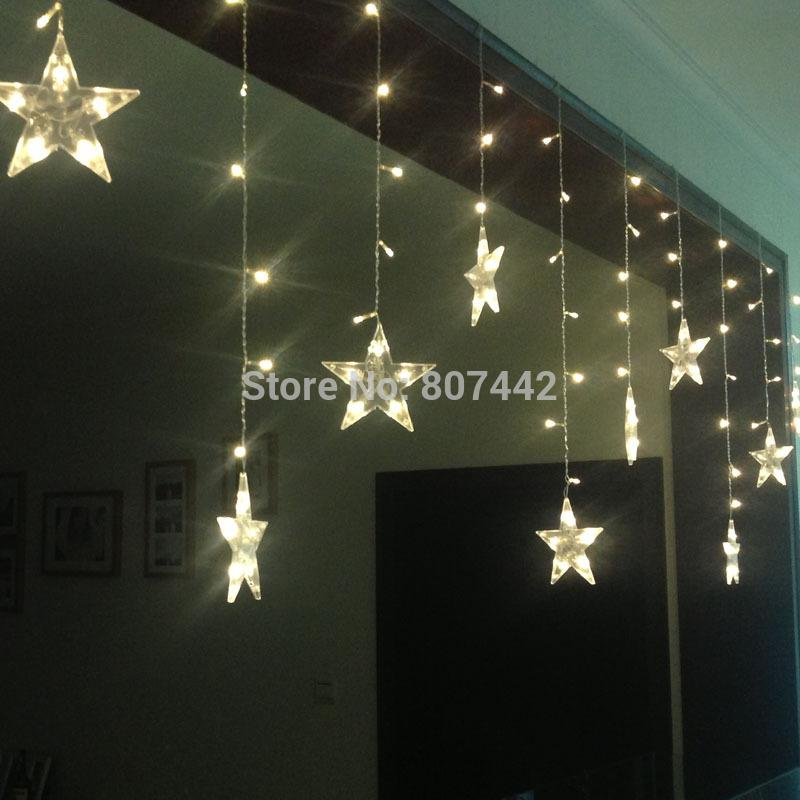 Christmas Led Light M Wide Star Curtain Light Color Optional Lighting Decoration Celebration Room Decorate Led Lights Series Large Bulb String Lights