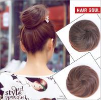 Wholesale Bride Hairpiece - Womens Girls Hair Bun Donut Synthetic Scrunchie Hair Bun Cover Bun Cage Bun Wrap Maker Hairpiece Clip in Hair Extension Bride Chignons FJ01