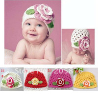 Wholesale Handknitted Hats - Wholesale-fashion baby crochet flower hats kids knitted beanies infant handknitted spring autumn hats children flower caps 10pcs HT-020
