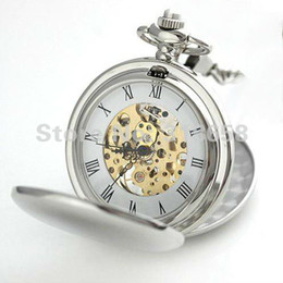 Wholesale Silver Mens Pocket Watches - Wholesale-Silver Tone Double Open Case Skeleton Wind Up Mechanical Mens Pocket Watch With Chain Nice Gift Wholesale Price H109