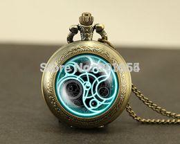 Wholesale Antique Glass Locket - Wholesale-fashion Doctor Who Pocket Watches quartz 12pcs Necklace,Dr Who masters brass watch locket necklace,Timelord Seal Locket necklace