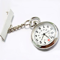 Wholesale-Antique Hot Sale en acier inoxydable Médecin Broche Fob Quartz Cross Nurse Silver Pocket Watch XMPJ089
