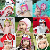 Wholesale Handknitted Hats - Wholesale-Lovely Animal Design Crochet Baby Hat with Earflaps Child Handknitted Hat Baby Winter Hat 10pcs lot free shipping SGM-0017