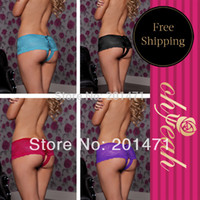 Wholesale Wholesale Woman Underware - Wholesale-P5011P See Through Lace Open Crotch Panties Sexy Thong Open Crotch Underware Women Low Waist Micro Shorts Plus Size Panties