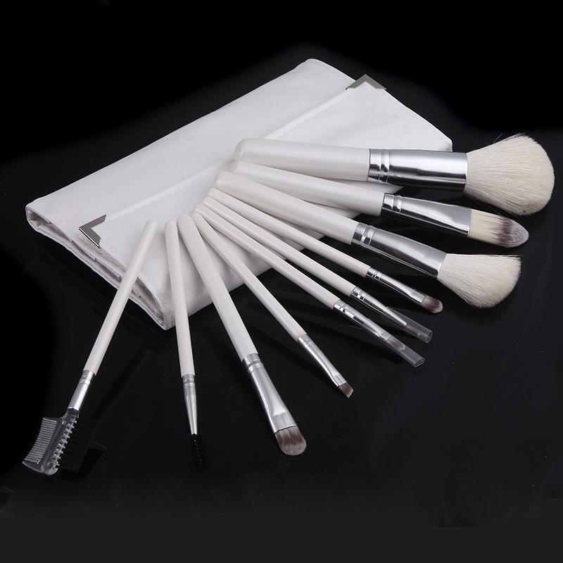¡Lo mejor! Professional 10 Pcs Soft Cosmetic Nylon Hair Maquillaje Herramientas Pinceles Maquillaje Set Kit con Plegable Blanco H10542