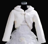 Wholesale Ivory Taffeta Wedding Bolero - New 2014 Wedding Jacket Warm Faux Fur Long Sleeve Ivory Bolero Wedding Wrap Shawl Bridal Jacket Coat Free Shipping