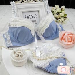 Wholesale Pink Department - Wholesale-Blue Lovely princess style lace Cotton blended cute school girl Department bra sets LMS868 #