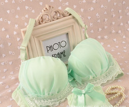 Discount cute young girl sexy - Wholesale-2014 new women sexy lace push up bra set young girl cute underwear suit A B C cup 32A 34A 36A 32B 34B 36B 32C