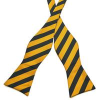 gravatas laço alaranjado venda por atacado-Atacado-Pensee Mens BowTie 100% Jacquard Tecido De Seda Self Bow Tie Preto Laranja Listrado Bowties # 018 (oferta Por Atacado e OEM)