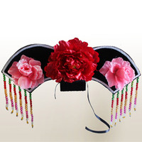 Wholesale Spring Big Flag - Queen Goddess ladies small main flag headband beads big flower hat cap Qing Dynasty princess costume accessories show accessories