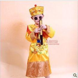 Дети костюм костюмы мальчик император династии Тан костюм костюм желтый халаты принц провести небольшой производительности одежда от Поставщики настоящий красный павлин