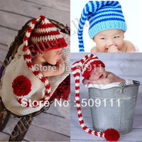 Wholesale Toddler Crochet Santa Hat - Wholesale-Pixie Elf Fairy Santa Baby Gift Photo Prop Crochet hat Toddler Christmas Beanie Infant Knitted cap 10pcs H236