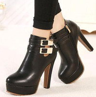 trendy buckles platform martin boots round toe black leather...