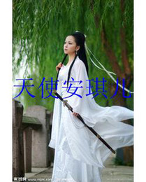 Wholesale Chinese Dance Clothes - White Maid costume clothing Han Chinese clothing costume fairy dance studio portrait mounted Touch of Zen costumes