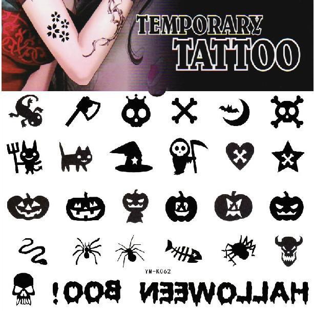Halloween temporary tattoo sticker pumpkin skull spider for Halloween temporary tattoos