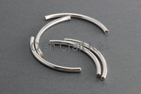 Wholesale 300pcs big Silver Curved Tubes mm mm Silver Curved Bar Bead Silver Plated Tube Bead Thin Tube Bar Beads copper