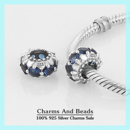 Wholesale Slide Bracelet Silver - Wholesale-925 Sterling Silver Slide Charm Beads With Blue Crystal DIY Bead Compatible With European Pandora Style Charm Bracelets XS032C