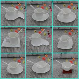 Wholesale European Tea Coffee Sets - Wholesale-European white bone china coffee mugs and creative ceramic tea cup 1 set including cup saucer spoon