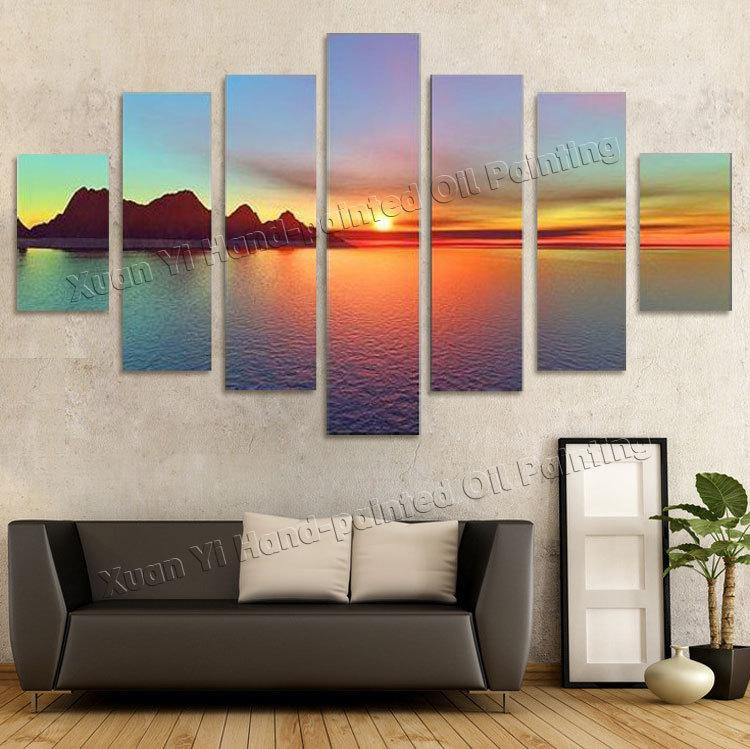 Wonderful 2018 Oil Painting Wall Decor Art Canvas 7 Panels Beautiful Sunset  VC42