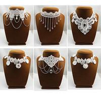 Wholesale Chain Lolita - 5PX white black lace necklace Chokers necklaces chain collar bib wedding Bridal choker Lolita Gothic