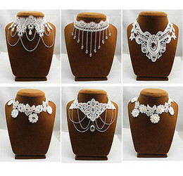 Wholesale White Lace Collar Necklace - 5PX white black lace necklace Chokers necklaces chain collar bib wedding Bridal choker Lolita Gothic