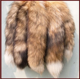 Wholesale Real Fox Tails - 1pcs 12''-15 Long Real Genuine Red Fox Tail Fur Tassel Bag Tag Accessory Charm, keyring FS004