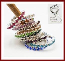 Wholesale Elastic Crystal Toe Rings - 12Pcs(1Packs)X Wholesale Lots New Fashion Elastic Crystal Toe Ring Mixed Color