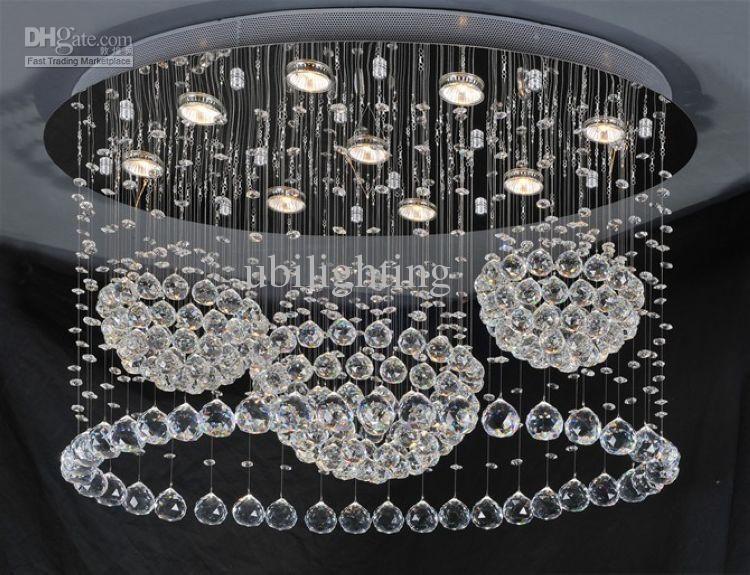 Modern chandeliercrystal drop lightingled ceiling lampoval free shippingmodern chandeliercrystal drop lightingled ceiling lampoval shaped dia400d800h700mm mozeypictures Gallery