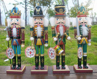 Wholesale Wood Ornament Craft - 2016 Free shipping Crafts 30.5cm Nutcracker Wood Christmas home decoration Ornaments Walnut soldiers Band Dolls