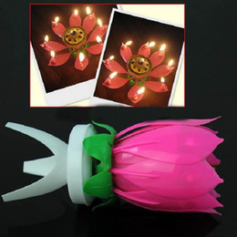 Wholesale Wax Flowers Wedding - 2016 New Lotus Music Candles LED Lotus Candle Light Birthday Gift to Kids Lotus Petal Wedding Birthday Party Flower Music Candle Lotus Style