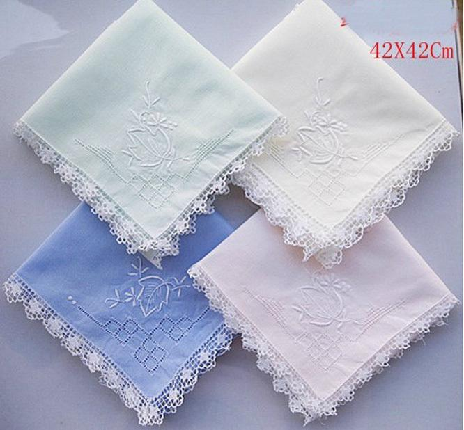 Handmade Handkerchief Cotton Embroidered Handkerchief Randomly 42X42CM