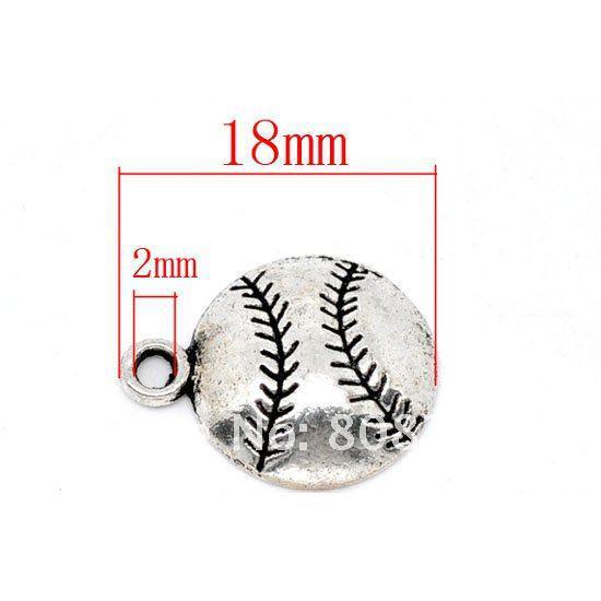 Free Shipping 50 Pcs Silver Tone Baseball Charm Pendants 18x14.5mm(W01275 X 1)