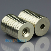 Wholesale Super Strong Magnet Ring - 100pcs Super Strong Round Neodymium Countersunk Ring Magnets 20 x 3 mm Hole: 5mm Rare Earth N50 Wholesale Free Shipping
