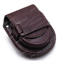 Venda Por Atacado-3pcs Vintage Brown Leather Pocket Watch Holder Storage Case Purse Pouch Bag LWB22 Frete grátis!
