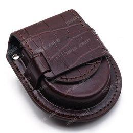Wholesale Antique Leather Bags - Wholesale-3pcs Vintage Brown Leather Pocket Watch Holder Storage Case Purse Pouch Bag LWB22 Free Shipping!