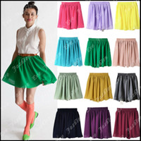 Wholesale Double Layered Skirt - 2014 High Quality Tagged 20 Colors Free Shipping Chiffon Double-Layered Shirred Elastic High Waist Pleated Skirt