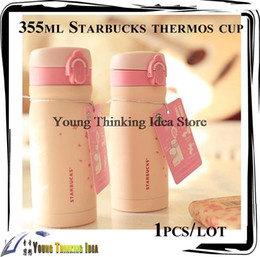 Wholesale Stainless Steel Thermos Free Shipping - Wholesale-Free shipping 355ml Starbucks sakura bottle thermos double stainless steel vacuum cup fashion female models