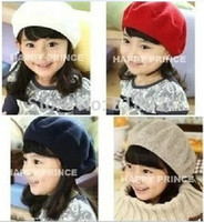 Wholesale Kids Black Beret Hats - Wholesale-(9 Colors) Girl Winter Caps Children Pretty Wool Felt Beret Toddler Accessories Hats Kid Warm Fashion Beret Caps free shipping