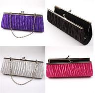 Wholesale Celebrity Bags Genuine Leather - Wholesale- Celebrity Ladies Women Pleated Satin Wedding Bridal Evening Handbag Party Club Purse Clutch Bag FK640295