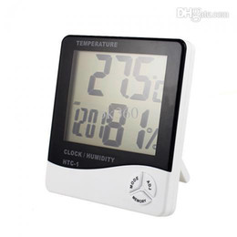 Wholesale Measure Humidity - New Arrival LCD Digital Temperature Humidity Meter Hygrometer Clock LCD Alarm Calendar LED Thermometer measuring with Retail box H531