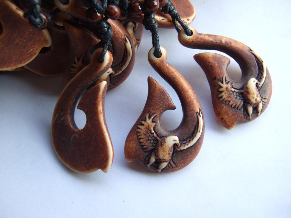 Dropshipping 12 Pcs Brown Imitation Yak Knochen Harz Haken Eagle Halskette