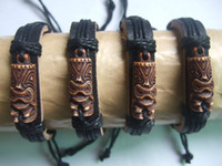 Wholesale Tribal Bone Bracelet - 12pcs Mens Brown Tribal Yak Bone Carved Tiki Man Totem Leather Bracelet