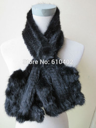 wholesale opulent fashion women's real mink fur knitted flouncing scarf cape black