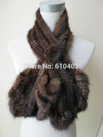 Wholesale Knitted Mink Scarves - wholesale sell retail Free shipping Lady 100% real mink knitted fur flouncing scarf  brown