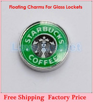 Wholesale Wholesale Starbucks Charms - Wholesale-Free Shipping Wholesale Starbucks Coffee Floating Charms For Living Glass Memory Glass Lockets FC228