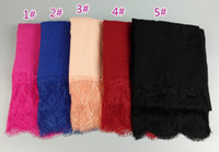 Wholesale Big Lace Scarf - new design cotton flower lace solid color viscose shawls winter nice hijab big size muslim scarves scarf 10pcs lot 200*100cm