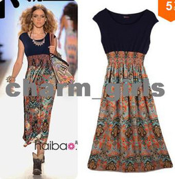 Wholesale Wholesale Women Clothing For Cheap - 2014 Cheap Bohemian Fashion Style Vintage Print Chiffon Patchwork Long Dress For Women Summer Wear Hot Selling Clothes