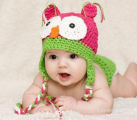 Wholesale Knitting Cap Patterns For Kids - Wholesale-23 color newborn knit Winter kids baby hats caps For Children boys girls owl hats Animal pattern lovely hat